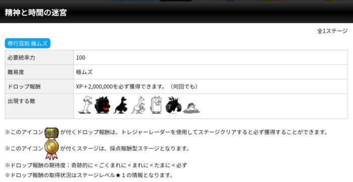 発掘ステージ 宝の地図 修行百刻 極ムズ ドロップ報酬 XP+2,000,000(二百万)