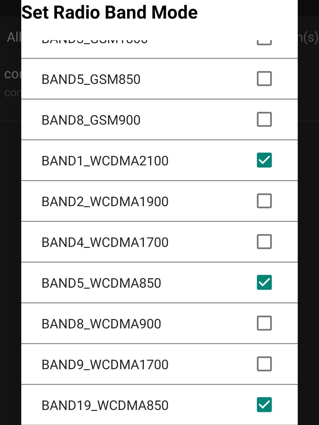 oneplus 8t Set radio Band Mode