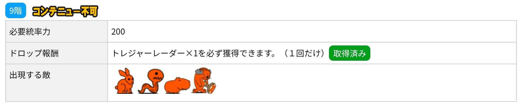 にゃんこ別塔(赤)9階 敵編成