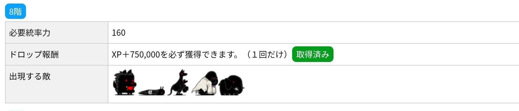 にゃんこ別塔(黒)8階 敵編成