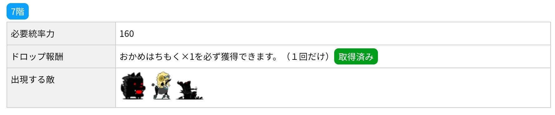 にゃんこ別塔(黒)7階 敵編成