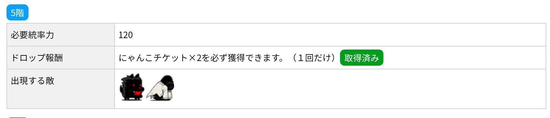 にゃんこ別塔(黒)5階 敵編成