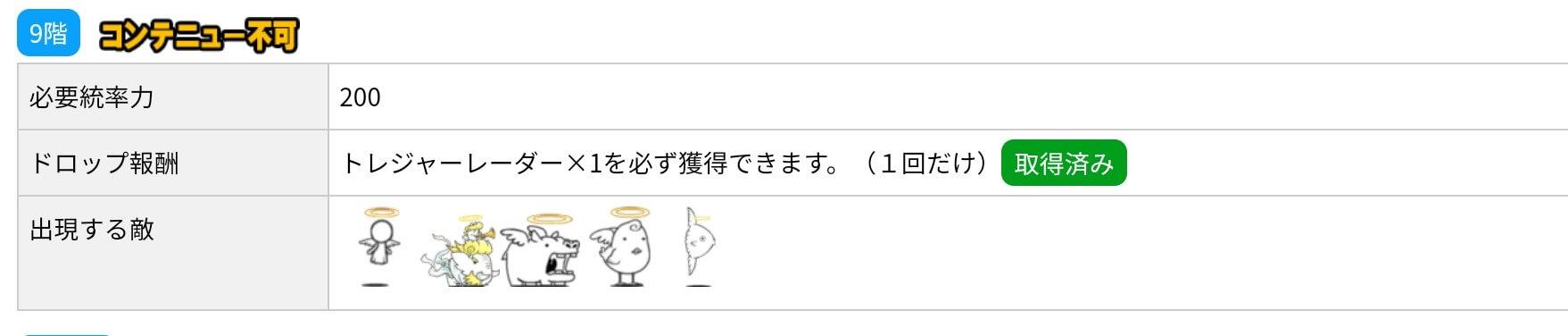 にゃんこ別塔(天)9階 敵編成