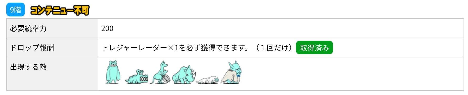 にゃんこ別塔(蒼)9階 敵編成