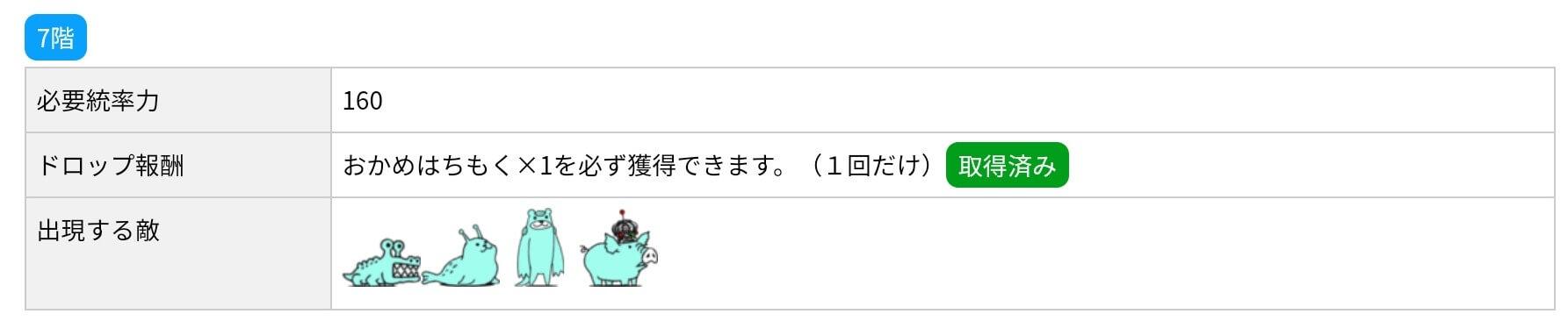 にゃんこ別塔(蒼)7階 敵編成