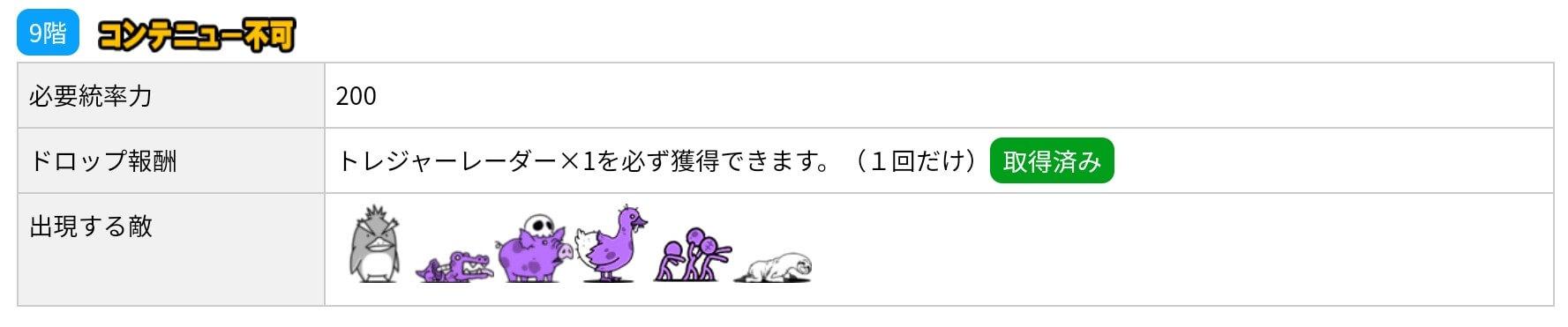 にゃんこ別塔(屍)9階 敵編成